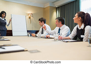 Businessman asking question at presentation in conference...