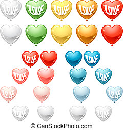 Set of colored balloon Hearts. Vector collection.