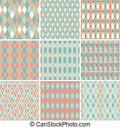 Seamless abstract retro pattern. Set of 9 geometric texture.