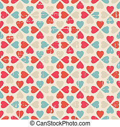 Vector seamless pattern of Valentines Day in retro style