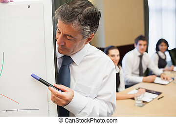 Businessman looking at his presentation in conference room