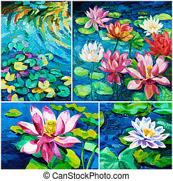 Water Lily - Set of Original oil paintings of beautiful...