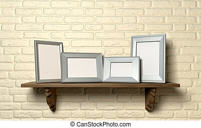 Shelf With Picture Frames Front - A front view of a regular...