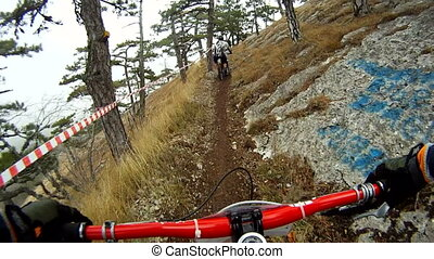 Velo competition in a forest - Hard track in a forest and...