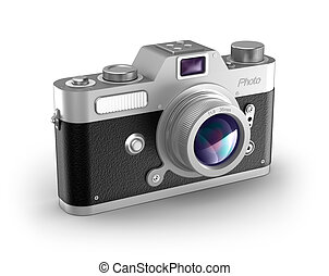Retro photo camera over white My own design