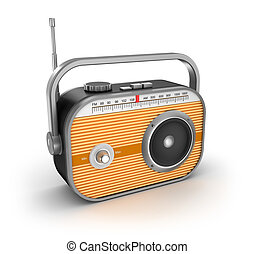 Retro radio on white background