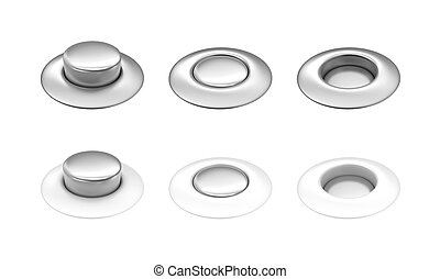 White and metal buttons in row - White and metal buttons in...
