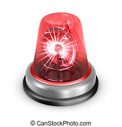 Red flasher icon Isolated on white
