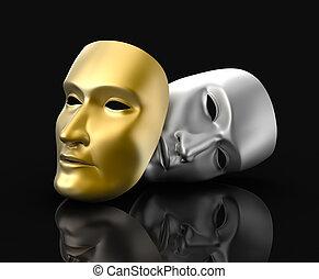 teatro, máscaras, concepto