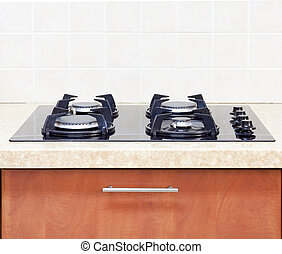 close up Gas Hob modern kitchen - interior - Gas Hob modern...