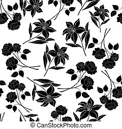 Seamless floral background, black silhouettes - Seamless...
