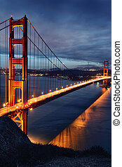 Golden Gate Bridge and San Francisco lights at sunset
