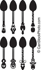 Set retro vector silhouettes of spoons