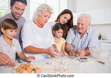 Happy family baking together