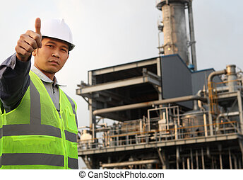 engineer oil refinery - industrial engineer with thumbs up...