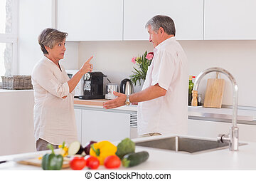 Old couple yelling in the kitchen and pointing