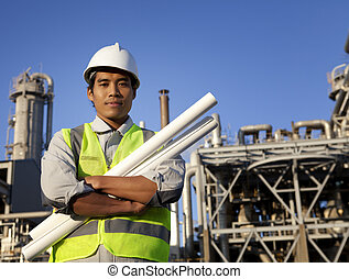 chemical industrial engineer with large oil refinery...