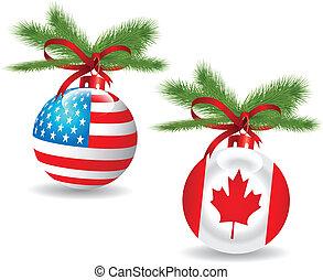 Christmas ball. - Christmas ball with US,Canadian...
