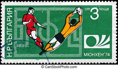 BULGARIA - CIRCA 1974 Soccer action scene