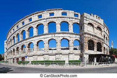 Arena Pula - Roman time arena in Pula, detail, Croatia....