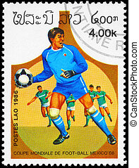 LAOS - CIRCA 1986 Goalkeeper