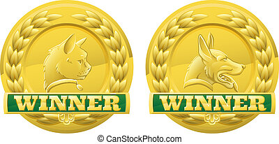 Cat and dog pet winners medals - Gold cat and dog pet...