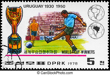 NORTH KOREA - CIRCA 1978 Uruguay World Cup Winners - NORTH...
