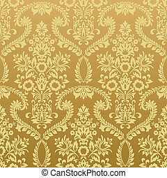 Seamless floral vintage gold wallpaper - Seamless classic...