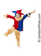 Mannequin dancing - Dancing girl in clown costume posing as...