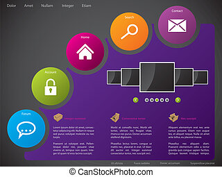 Website template design with colorful stickers