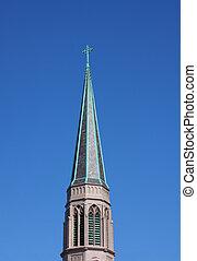 Church Steeple - Church steeple with cross on blue sky...