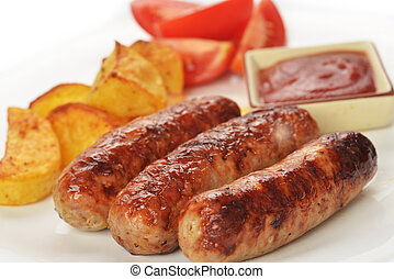 meat sausages - grilled meat sausages with potatoes and...