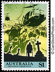 AUSTRALIA - CIRCA 1990 Helicopters and Cemetery - AUSTRALIA...