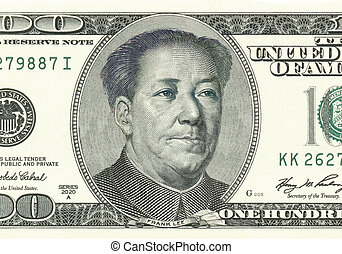 Franklin from 100 dollar converted to Mao. Photoshop...
