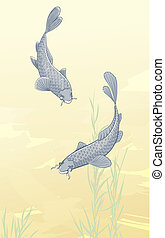 two koi carps - illustration of two koi carps splashing in...