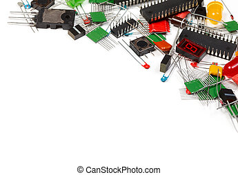Electronics components background - Electronic components on...