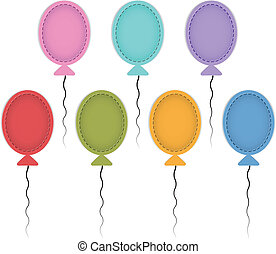 Colorful ballons - Colorful balloon labels made of leather....