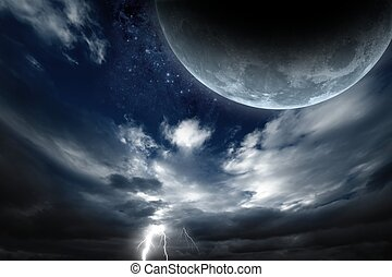 Abstract fantastic background - big moon, dark sky with...