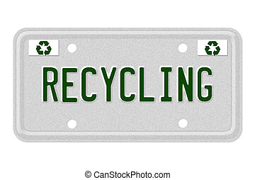 Recycling Car License Plate - The word Recycling on a gray...