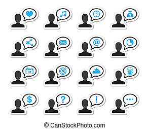 User communication vector icons on - Man with speach bubble...