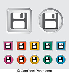 Magnetic floppy disc icon. Vector illustration.