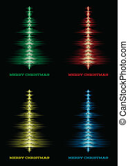 Musical christmas tree set - Set of music waveforms as...