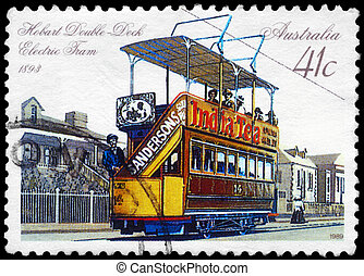 AUSTRALIA - CIRCA 1989 Double-deck Electric Tram - AUSTRALIA...