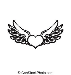 Heart tattoo Vector - Heart tattoo isolated on black...