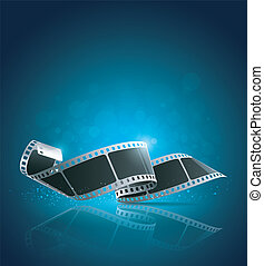 Camera film roll blue background, vector illustration