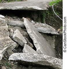 Damaged Road - -- a narrow road destroyed by an earthquake...
