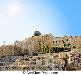 The dome of the Al-Aqsa Mosque on the Temple Mount in Jerusalem