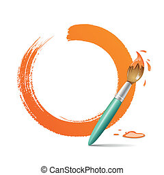 Paint brush paint circle orange - Paint brush paint circle...