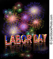 Labor Day Fireworks - Labor Day card, invitation, template...