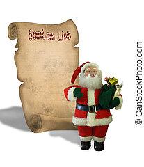 Santa\\\'s List On Parchment